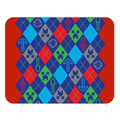 Minecraft Ugly Holiday Christmas Red Background Double Sided Flano Blanket (Large)
