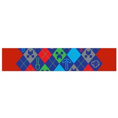Minecraft Ugly Holiday Christmas Red Background Flano Scarf (Small)