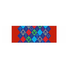 Minecraft Ugly Holiday Christmas Red Background Satin Scarf (oblong)