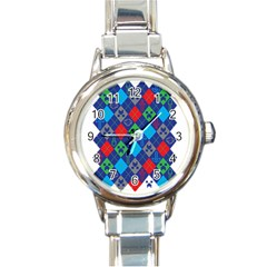 Minecraft Ugly Holiday Christmas Round Italian Charm Watch