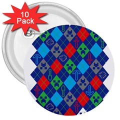 Minecraft Ugly Holiday Christmas 3  Buttons (10 pack)