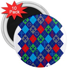 Minecraft Ugly Holiday Christmas 3  Magnets (10 Pack)