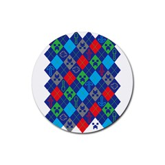 Minecraft Ugly Holiday Christmas Rubber Coaster (Round)