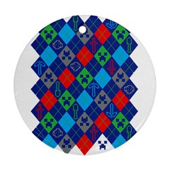 Minecraft Ugly Holiday Christmas Round Ornament (Two Sides)