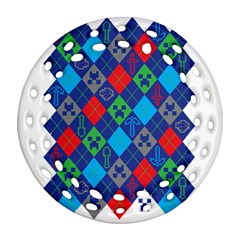 Minecraft Ugly Holiday Christmas Round Filigree Ornament (2Side)