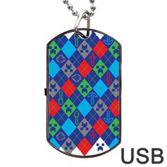Minecraft Ugly Holiday Christmas Dog Tag USB Flash (Two Sides)
