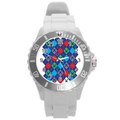 Minecraft Ugly Holiday Christmas Round Plastic Sport Watch (L)