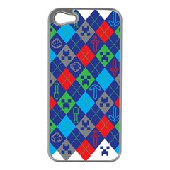 Minecraft Ugly Holiday Christmas Apple Iphone 5 Case (silver)