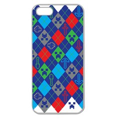 Minecraft Ugly Holiday Christmas Apple Seamless iPhone 5 Case (Clear)