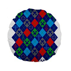 Minecraft Ugly Holiday Christmas Standard 15  Premium Round Cushions