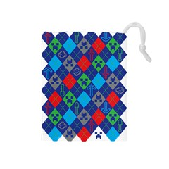 Minecraft Ugly Holiday Christmas Drawstring Pouches (Medium)