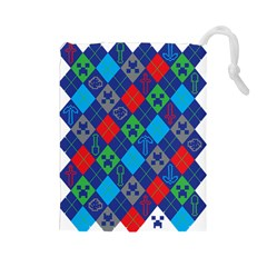 Minecraft Ugly Holiday Christmas Drawstring Pouches (Large)