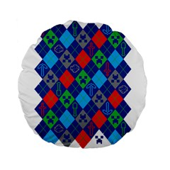 Minecraft Ugly Holiday Christmas Standard 15  Premium Flano Round Cushions