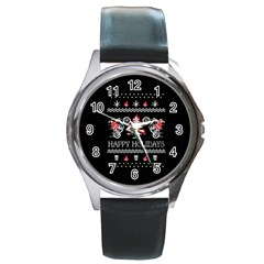 Motorcycle Santa Happy Holidays Ugly Christmas Black Background Round Metal Watch