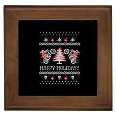 Motorcycle Santa Happy Holidays Ugly Christmas Black Background Framed Tiles