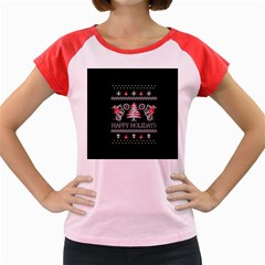 Motorcycle Santa Happy Holidays Ugly Christmas Black Background Women s Cap Sleeve T-Shirt