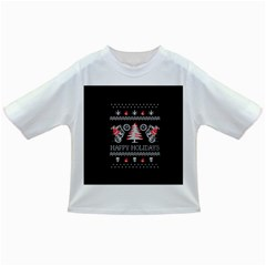 Motorcycle Santa Happy Holidays Ugly Christmas Black Background Infant/Toddler T-Shirts
