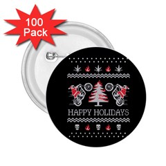 Motorcycle Santa Happy Holidays Ugly Christmas Black Background 2.25  Buttons (100 pack)