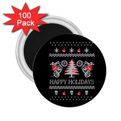Motorcycle Santa Happy Holidays Ugly Christmas Black Background 2.25  Magnets (100 pack)