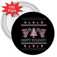 Motorcycle Santa Happy Holidays Ugly Christmas Black Background 3  Buttons (100 pack)
