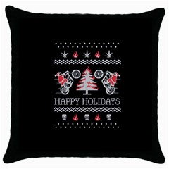 Motorcycle Santa Happy Holidays Ugly Christmas Black Background Throw Pillow Case (Black)