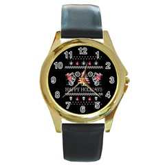 Motorcycle Santa Happy Holidays Ugly Christmas Black Background Round Gold Metal Watch