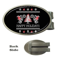 Motorcycle Santa Happy Holidays Ugly Christmas Black Background Money Clips (Oval)