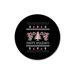 Motorcycle Santa Happy Holidays Ugly Christmas Black Background Magnet 3  (Round)
