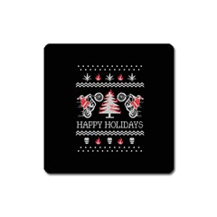 Motorcycle Santa Happy Holidays Ugly Christmas Black Background Square Magnet
