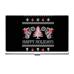 Motorcycle Santa Happy Holidays Ugly Christmas Black Background Business Card Holders