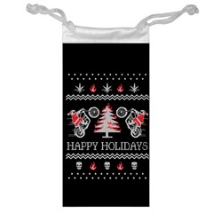 Motorcycle Santa Happy Holidays Ugly Christmas Black Background Jewelry Bags