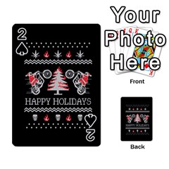 Motorcycle Santa Happy Holidays Ugly Christmas Black Background Playing Cards 54 Designs