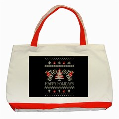 Motorcycle Santa Happy Holidays Ugly Christmas Black Background Classic Tote Bag (Red)