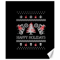Motorcycle Santa Happy Holidays Ugly Christmas Black Background Canvas 8  x 10