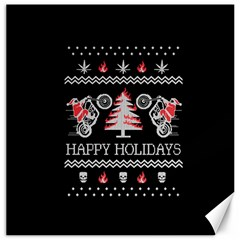 Motorcycle Santa Happy Holidays Ugly Christmas Black Background Canvas 16  x 16