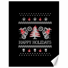 Motorcycle Santa Happy Holidays Ugly Christmas Black Background Canvas 18  x 24
