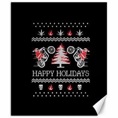 Motorcycle Santa Happy Holidays Ugly Christmas Black Background Canvas 20  x 24