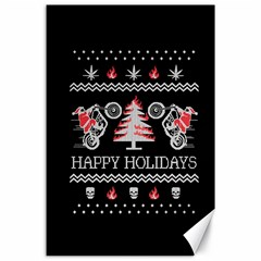 Motorcycle Santa Happy Holidays Ugly Christmas Black Background Canvas 24  x 36