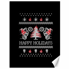 Motorcycle Santa Happy Holidays Ugly Christmas Black Background Canvas 36  X 48