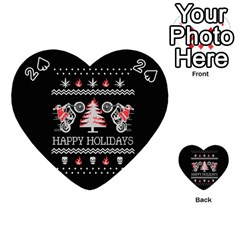 Motorcycle Santa Happy Holidays Ugly Christmas Black Background Playing Cards 54 (Heart)