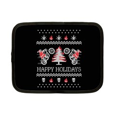 Motorcycle Santa Happy Holidays Ugly Christmas Black Background Netbook Case (Small)