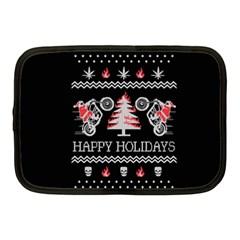 Motorcycle Santa Happy Holidays Ugly Christmas Black Background Netbook Case (Medium)