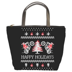 Motorcycle Santa Happy Holidays Ugly Christmas Black Background Bucket Bags