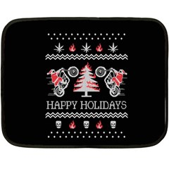 Motorcycle Santa Happy Holidays Ugly Christmas Black Background Double Sided Fleece Blanket (Mini)