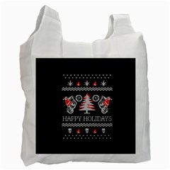 Motorcycle Santa Happy Holidays Ugly Christmas Black Background Recycle Bag (One Side)