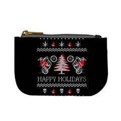 Motorcycle Santa Happy Holidays Ugly Christmas Black Background Mini Coin Purses