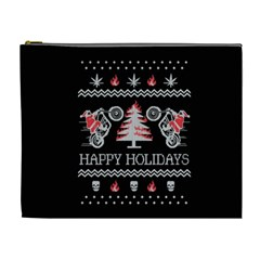 Motorcycle Santa Happy Holidays Ugly Christmas Black Background Cosmetic Bag (XL)