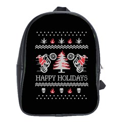 Motorcycle Santa Happy Holidays Ugly Christmas Black Background School Bags(Large)