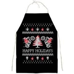 Motorcycle Santa Happy Holidays Ugly Christmas Black Background Full Print Aprons