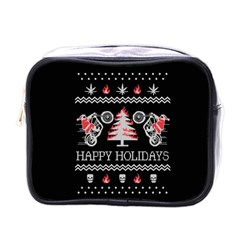 Motorcycle Santa Happy Holidays Ugly Christmas Black Background Mini Toiletries Bags